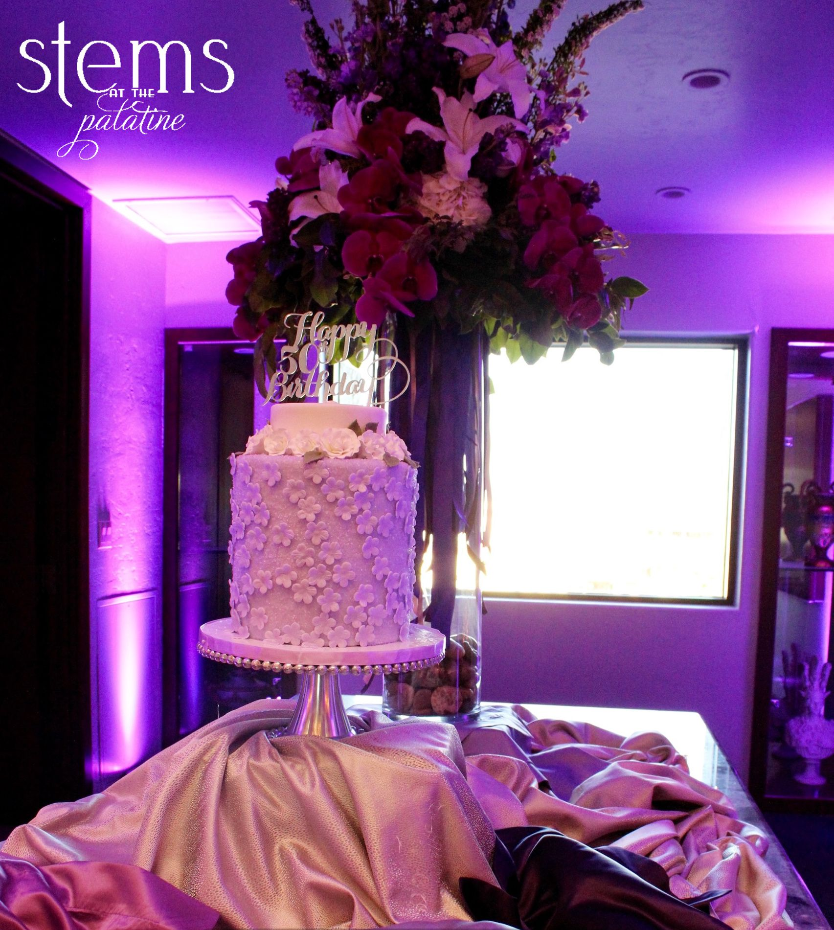 Cake table decor & styling for a glamorous purple theme To see more check out our blog! http://www.rsvp-blog.com/lifes-celebrations-1/glamorous-purple-theme-surprise-party