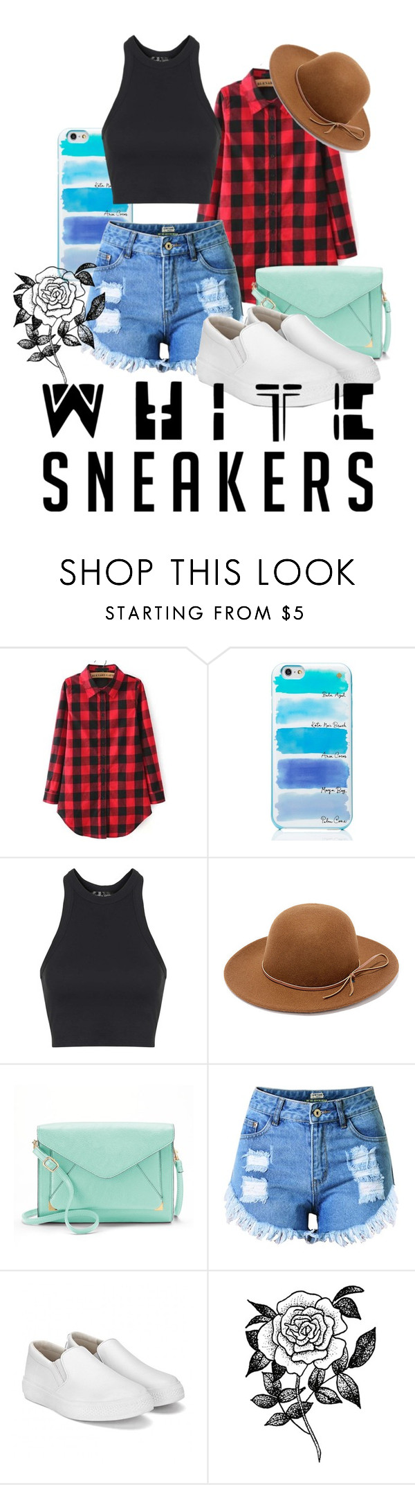 """""""White Sneakers"""" by skyequake on Polyvore featuring Kate Spade, Topshop, RHYTHM, Apt. 9 and Forever 21"""