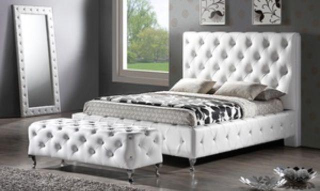 My dream bedroom. Tufted, apolstered bed set. | Bedroom | Pinterest