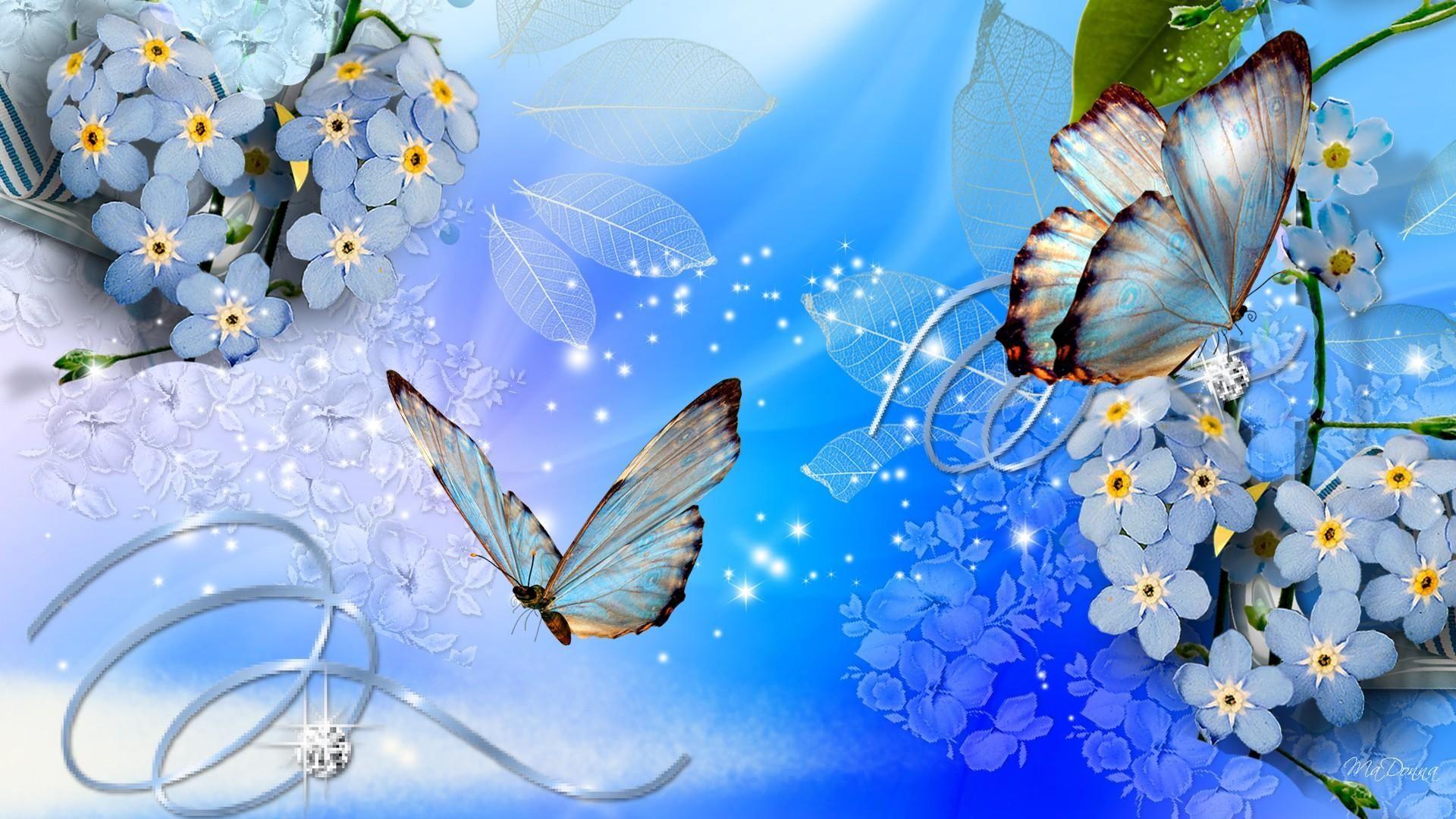 Blue Butterflies Blue Flowers Wallpaper Digital 3d Pinterest