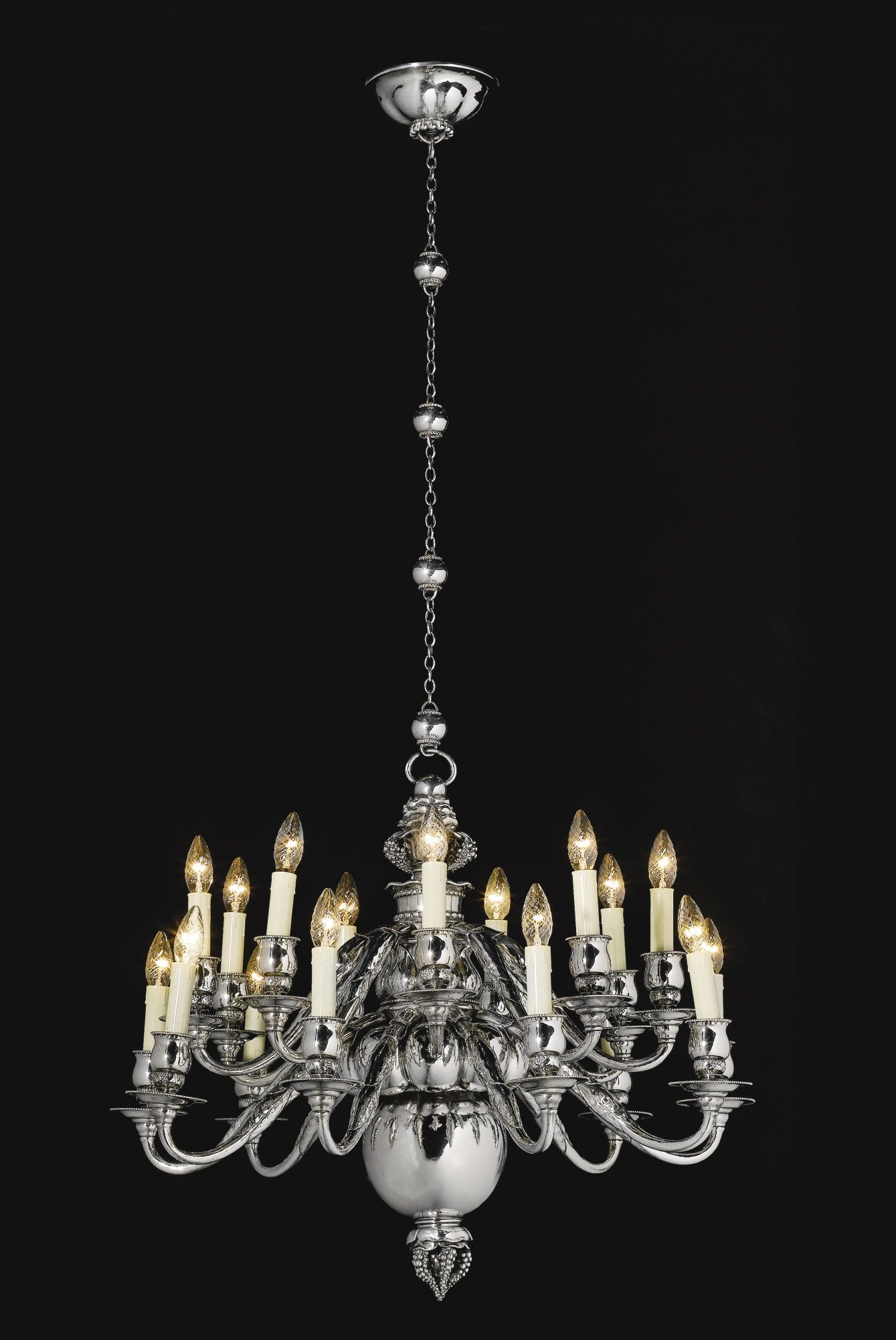 An important 18 light danish sterling silver chandelier georg an important 18 light danish sterling silver chandelier georg jensen copenhagen 1920 aloadofball Images