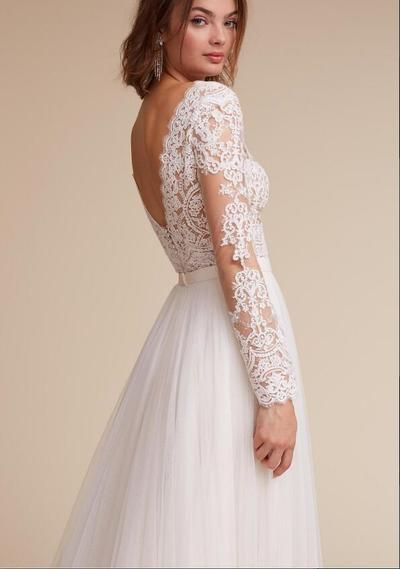 3de69bb1775 Sheer Lace Top V Neck A Line Long Chiffon Wedding Dress with Long Sleeves