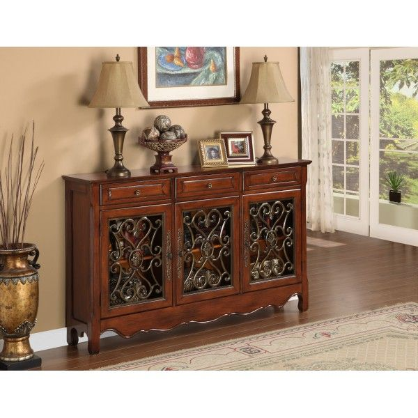 "Powell Furniture ""Walnut"" 15-Door Scroll Console 15-15155  Hall"