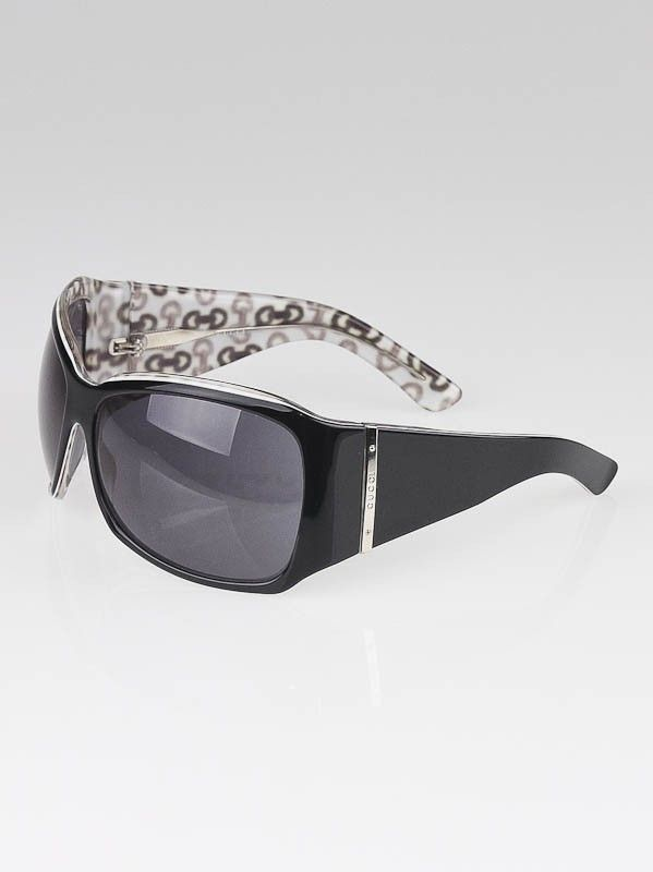 04b8feb4a7 Gucci Black White Oversized Frame Horsebit Sunglasses- 2902