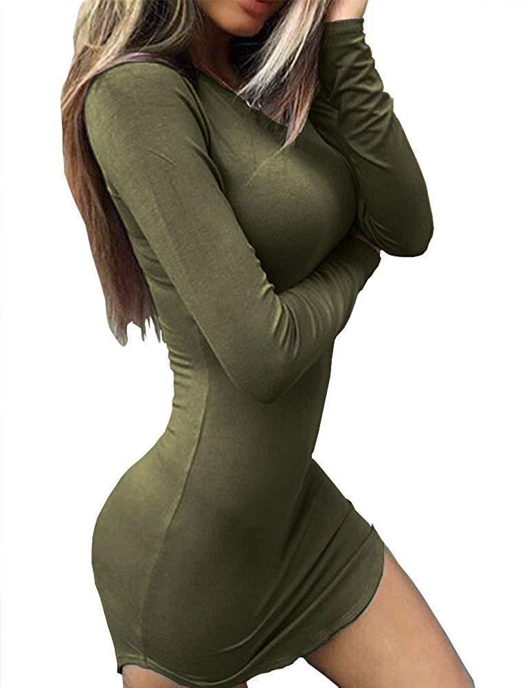 2e0be1b223d Haola Women's Sexy Bodycon Tight Long Sleeve Mini T Shirts Dresses  Irregular Hem