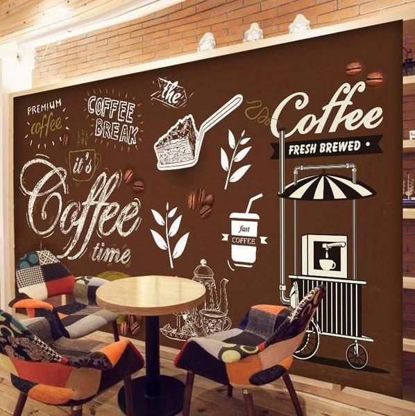 Coffee Shop Restaurant European Style Retro Mural