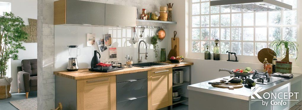 La cuisine Titanium Conforama Décoration de cuisines Pinterest - cuisine ilot central conforama