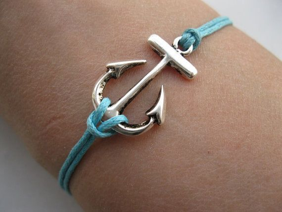 Beautiful silver anchor braceletblue wax cords by giftjewelry, $1.99 my-style