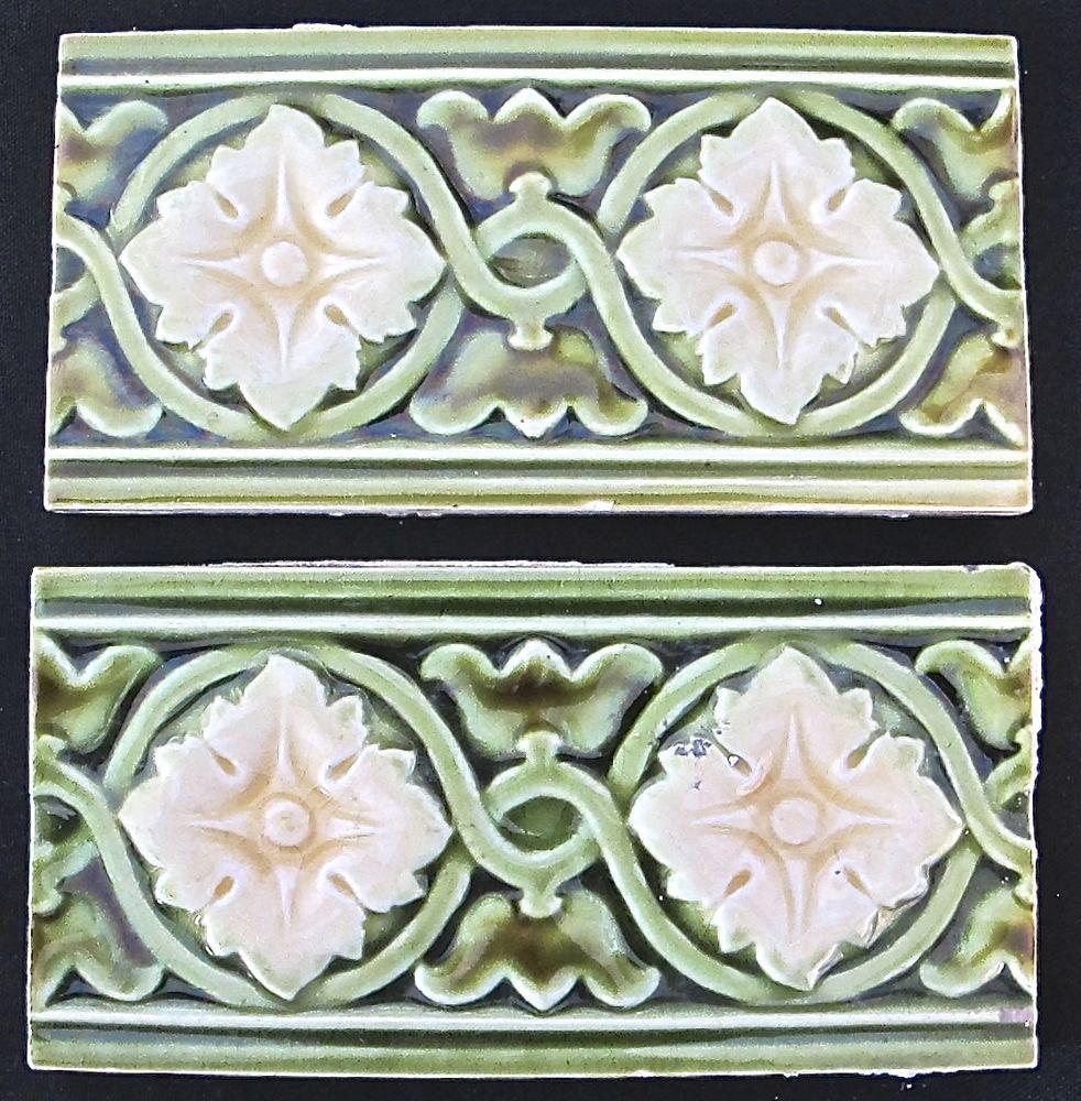 Antigo England - 2 Majolica Art Nouveau-Border Azulejo Flor Verde C1900 (#447)   Artigos antigos, Arquitetura e jardim, Azulejos e ladrilhos   eBay!