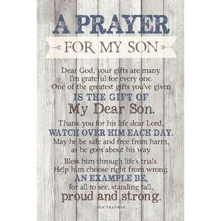 Dexsa Prayer For My Son New Horizons Wood Plaque w
