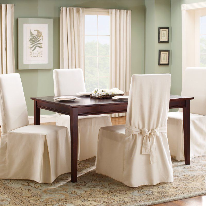 Chair Covers Cotton Folding Beds Uk Sure Fit Duck Long Dining Room Cover Natural 15395