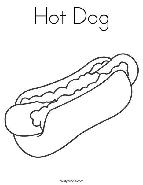Hot Dog Coloring Page Twisty Noodle With Images Dog Coloring