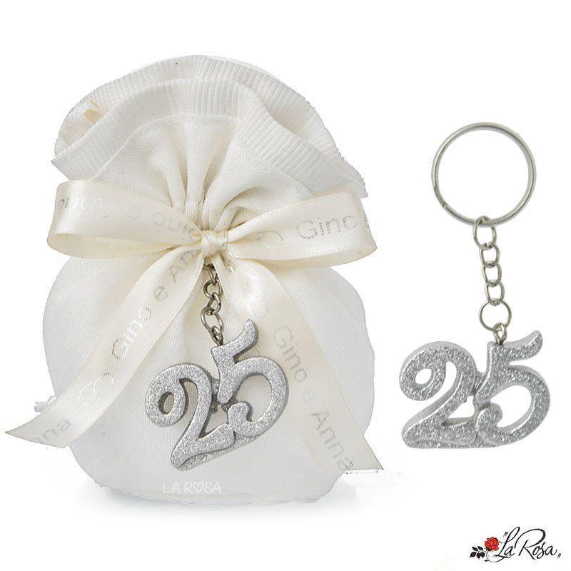 Bomboniere Nozze D Argento Portachiavi Numero 25 Argento Glitterato Con Brillantini Idea Utile Co Nozze D Argento 25 Anniversario Di Matrimonio Anniversario