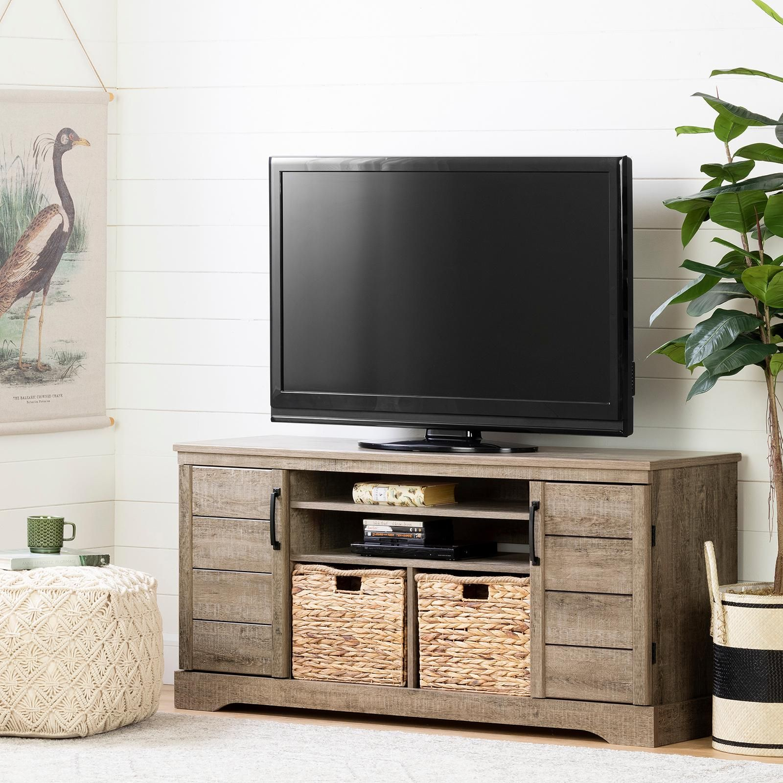 South Shore Furniture Fitcher Tv Stand Weathered Oak Oak Tv Stand Tv Stand Designs Tall Tv Stands