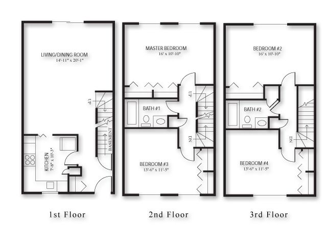 4 Bedroom Townhouse Google Search Multi Family Pinterest Townhouse Floor Plans And Bedroom