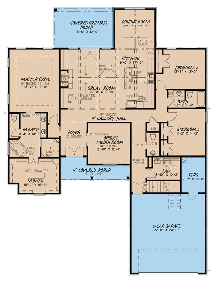 House Plan 8318 00047 Traditional Plan 2 500 Square Feet 4 Bedrooms 3 5 Bathrooms Best House Plans House Plans One Story House Floor Plans