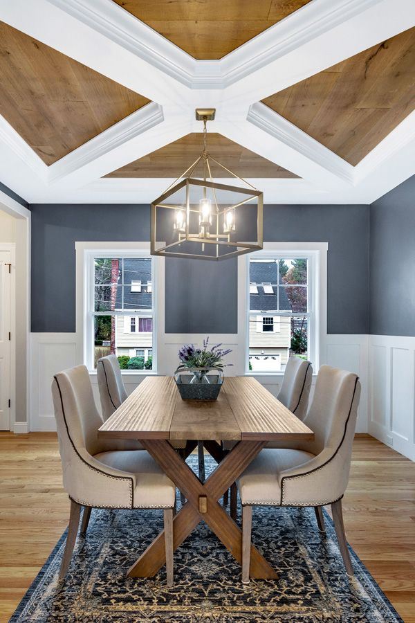 Photo of Modern Farmhouse Dining Room Ceiling Design & More!