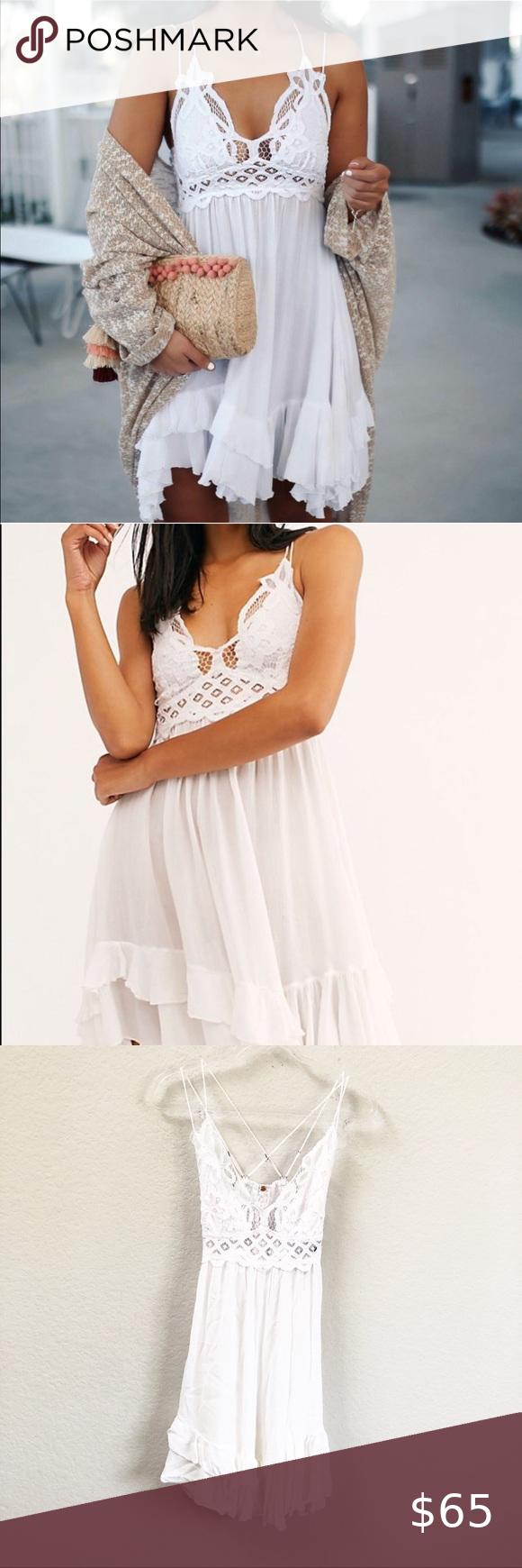 Free People Adella Slip Dress Lace White Sz Medium Lace Slip Dress Lace White Dress Lace Dress [ 1740 x 580 Pixel ]