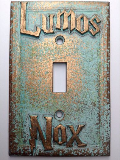 Details about Lumos/Nox Harry Potter Light Switch Cover - Aged Copper/Patina or Stone images