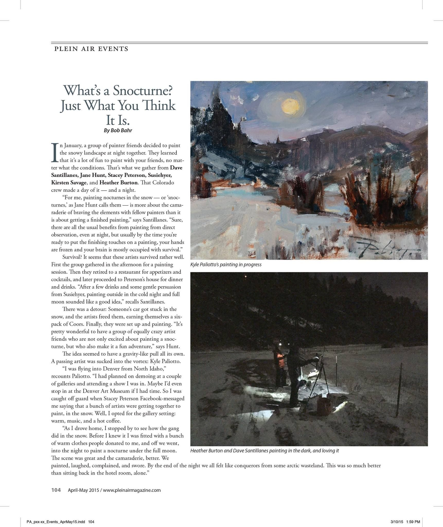 this article appears in the May issue of Plein Air