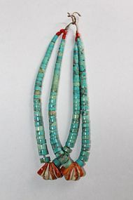 Pair of Navajo Jacla in coral, turquoise and oyster shell Very fine early Jacla…