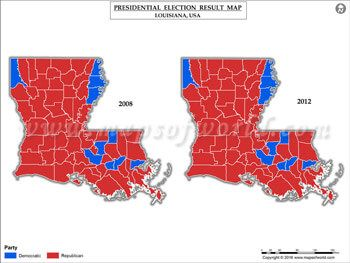 Louisiana Election Results Map 2008 Vs 2012 | US Presidential ...