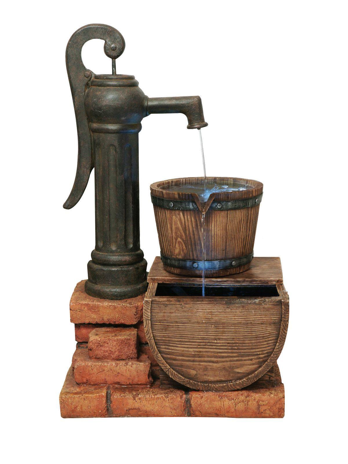 Handpumpe Und Fassbrunnen Mit Led Beleuchtung Gartenbrunnen Holz Optik Eur 236 99 Brunnen Led Beleuchtung Beleuchtung