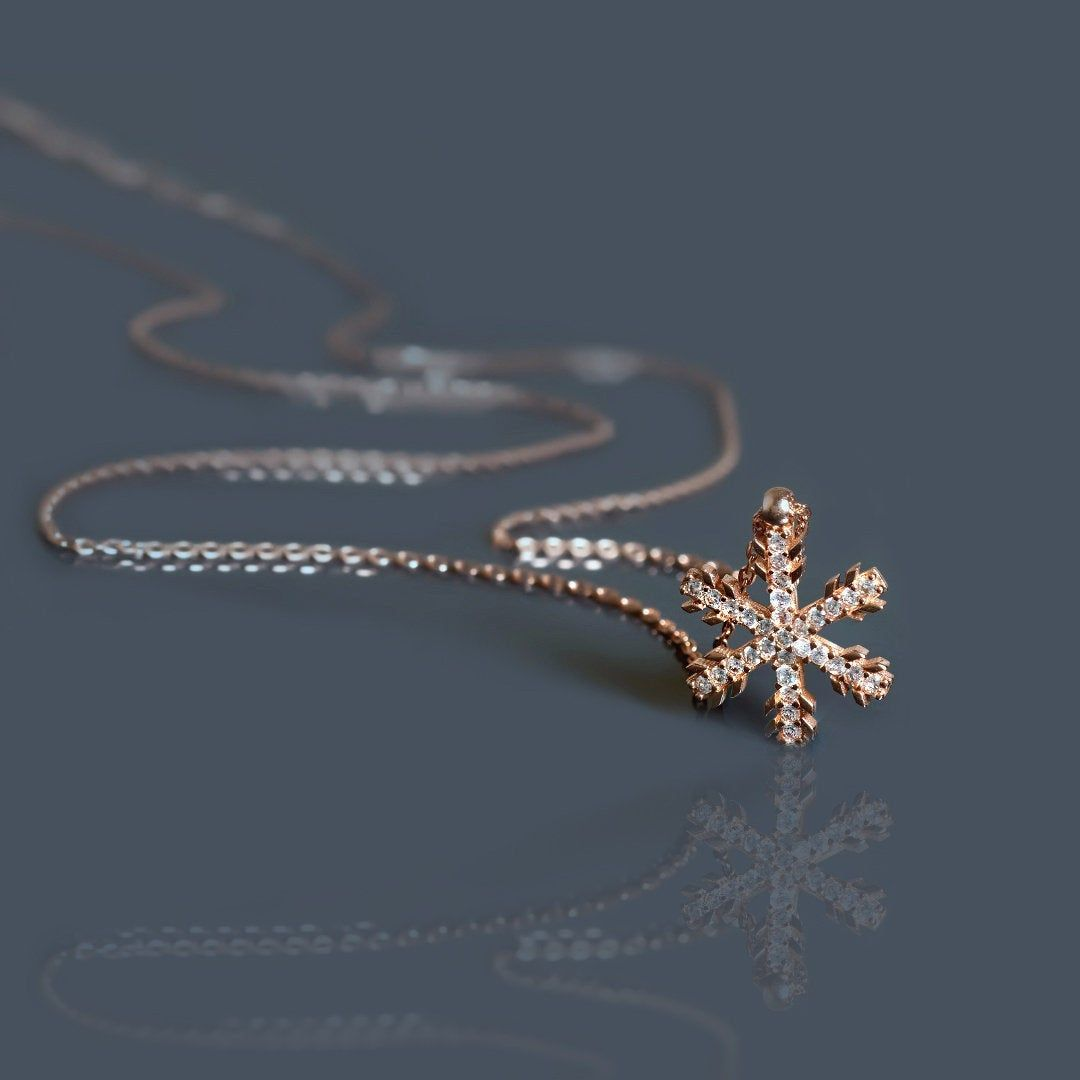 "Elegant /""Snowflake/"" 925 Sterling Silver Pendant Necklace"
