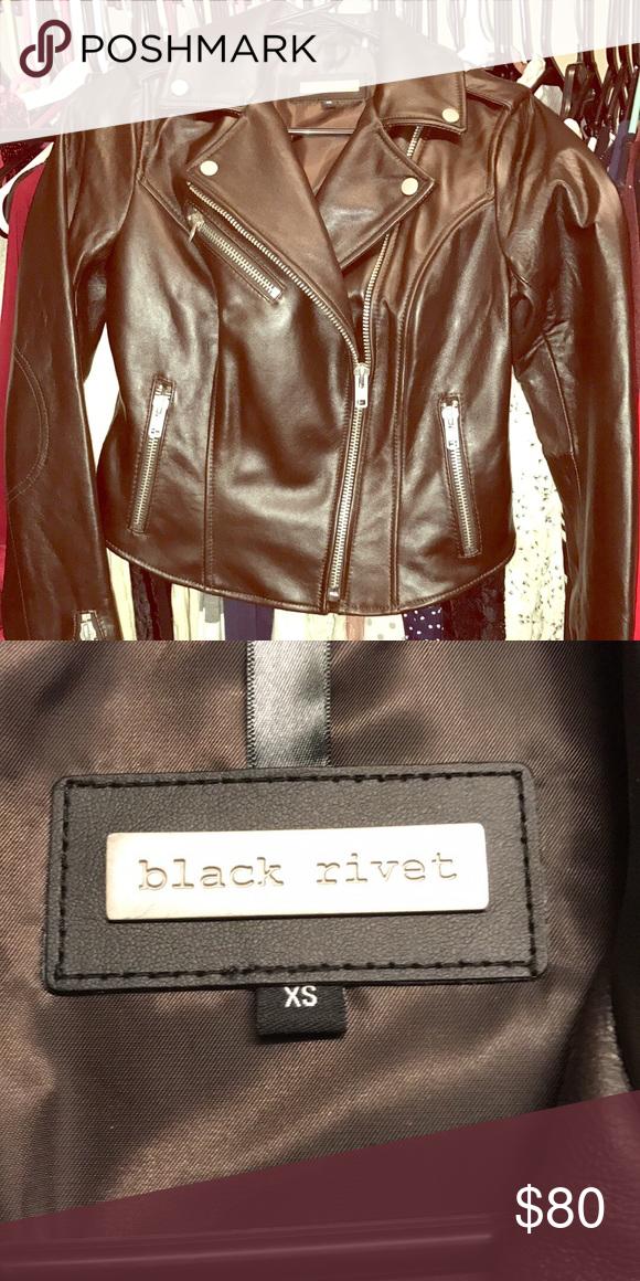 Black rivet leather jacket brown