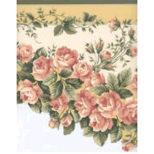 Green Rose Scalloped Wallpaper Border Home