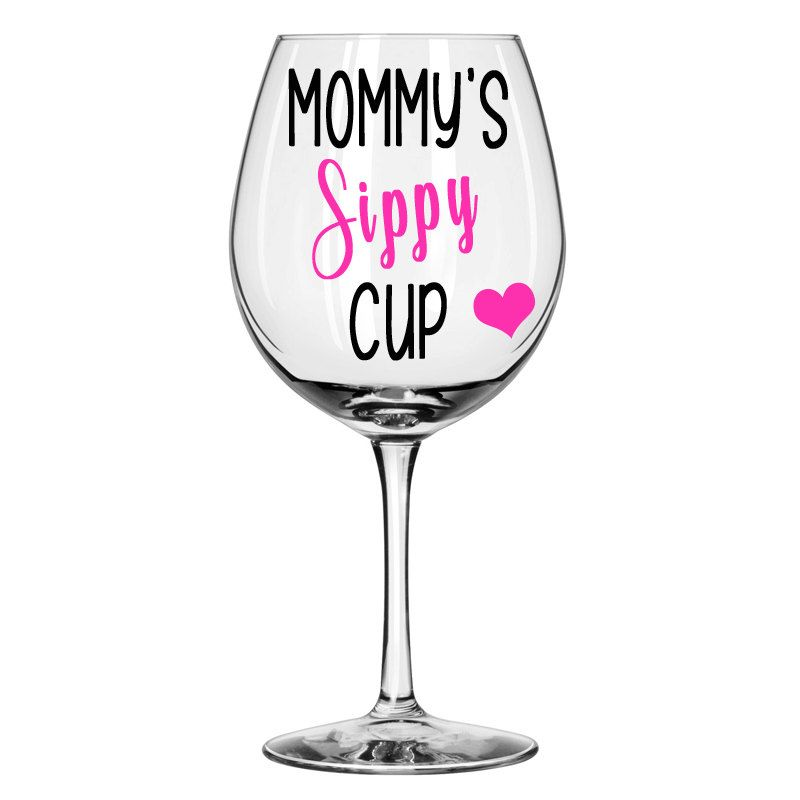 Mommys Sippy Cup Mom Wine Glass Personalized Wine Glass Funny