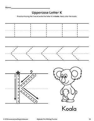 uppercase letter k pre writing practice worksheet ideas for the house pre writing practice. Black Bedroom Furniture Sets. Home Design Ideas