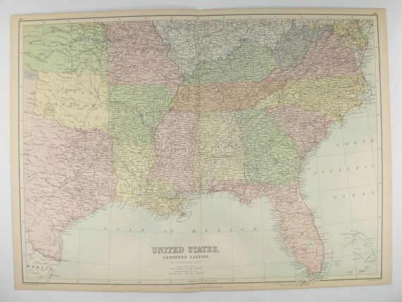 Old Southern US Map, United States Map 1884 A C Black Map, US ...