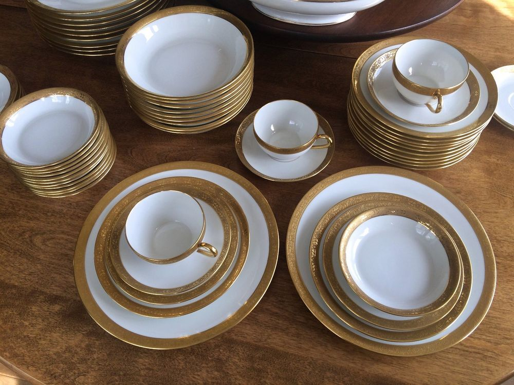 Limoges Superieur Gold Rimmed Dinnerware Set Tons Of Extras Platters Veg Bowls