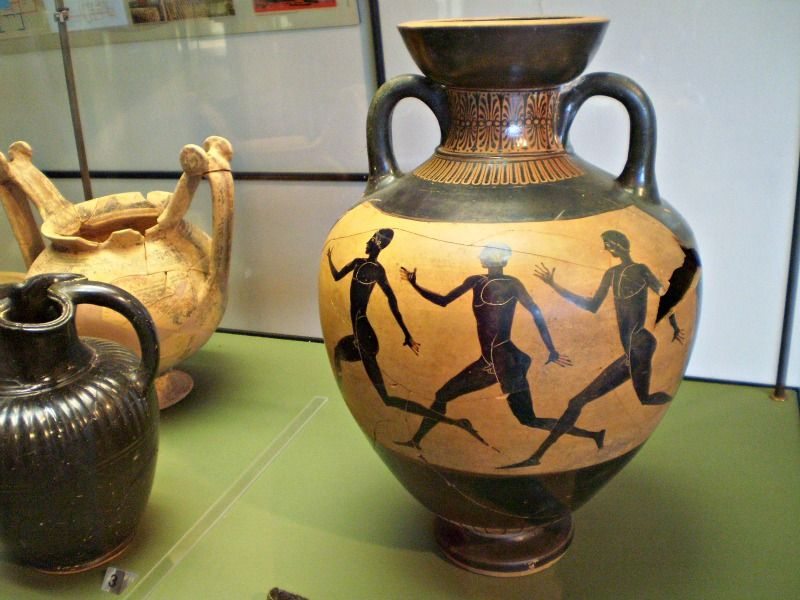 Ancient Olympian amphora on display in Metaponto