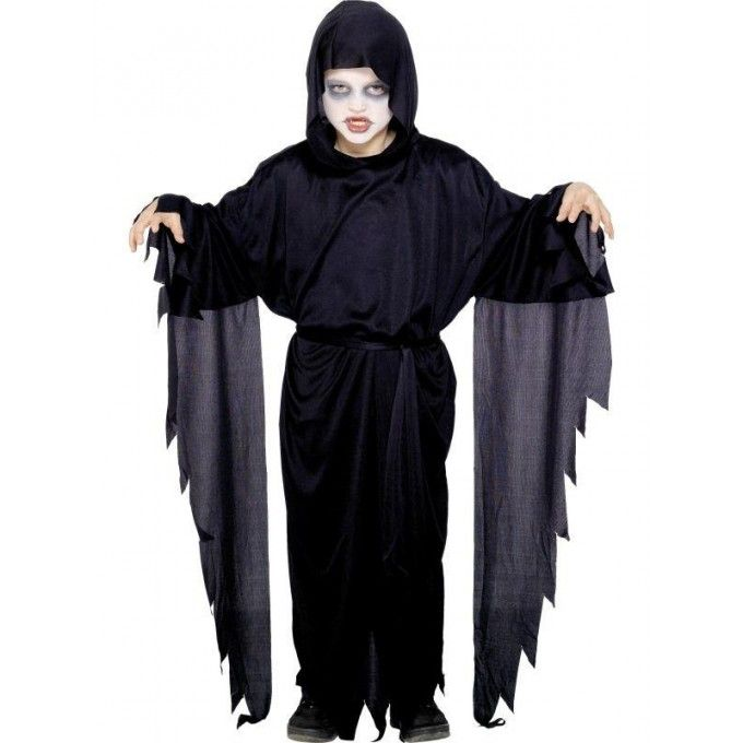 Halloween Hooded Pumpkin Reaper Robe Adult One Size Costume Outfit Fancy Dress