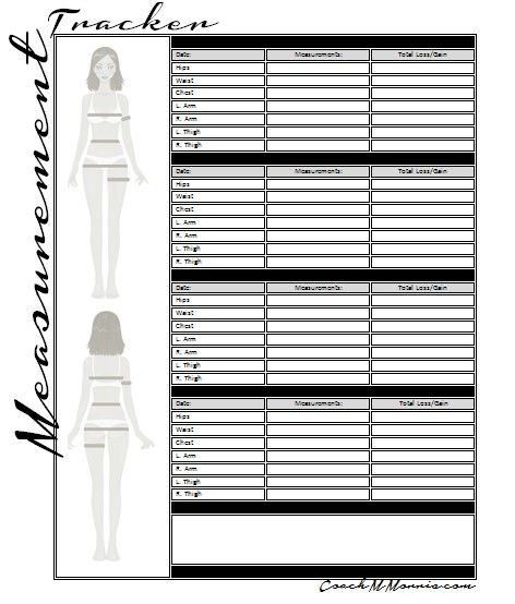 or printable body measurement tracking spreadsheet to keep