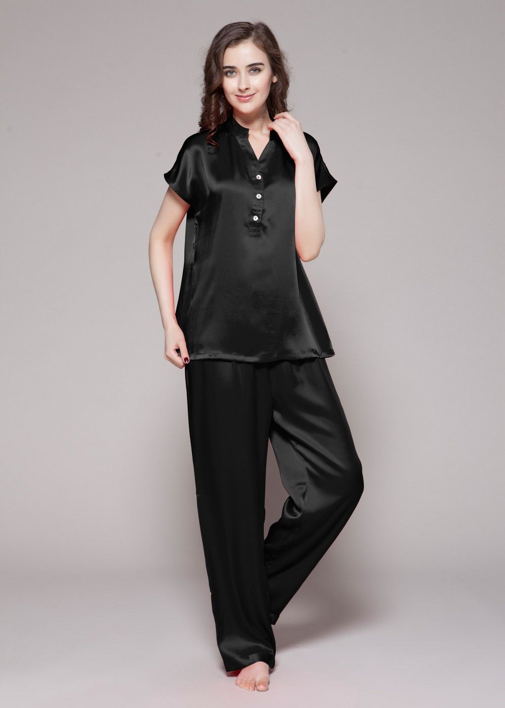 870c02ac7a 22 Momme Half Buttoned Front Silk Pajamas Set