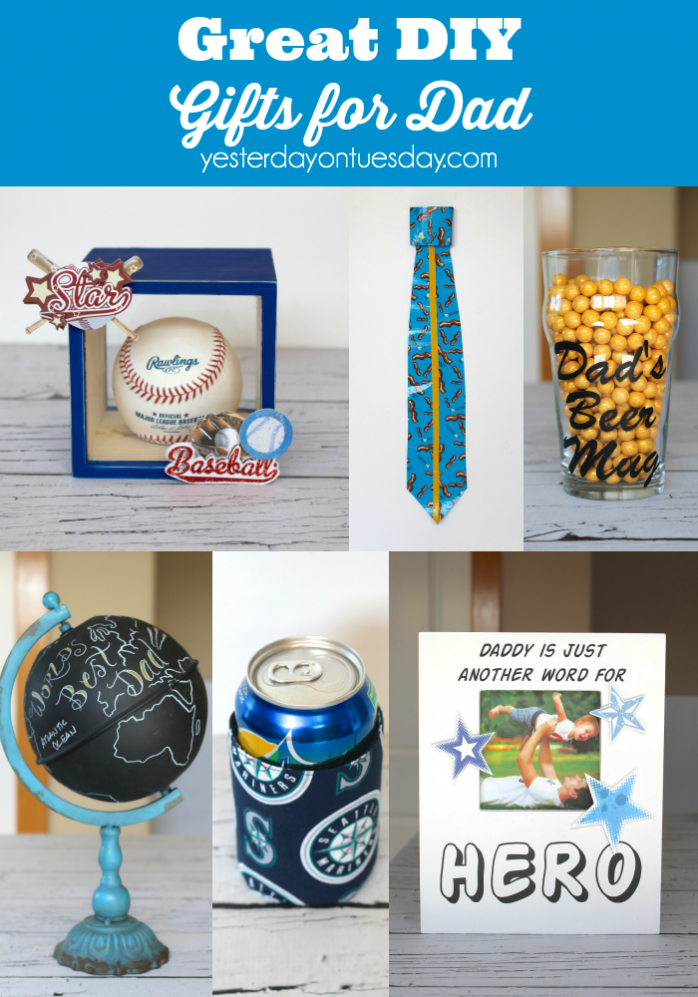 Great DIY Gifts for Dad including a Duck Tape Tie, picture frame, Best Dad