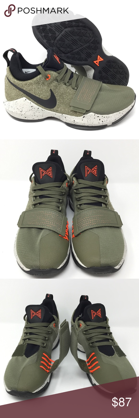 ad90759ecd04 Nike PG1 Elements Paul George Basketball Shoes Nike PG1 Elements Paul George  Basket Ball Shoes Size 7 Olive Green Black New Without Box 911085-200 Nike  ...