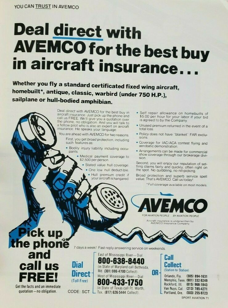 1977 Avemco Aviation Insurance Print Ad Advertisement