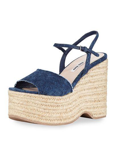 8230ff465d9 S0DU8 Miu Miu Denim Platform Espadrille Wedge Sandal