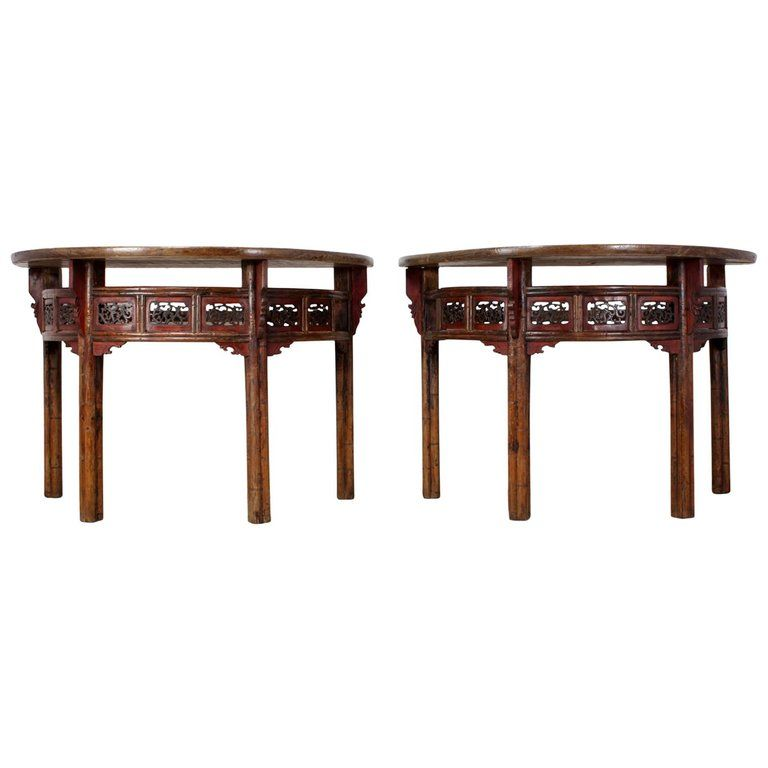 Pair Of Chinese Half Moon Console Tables Circa 1860 Console
