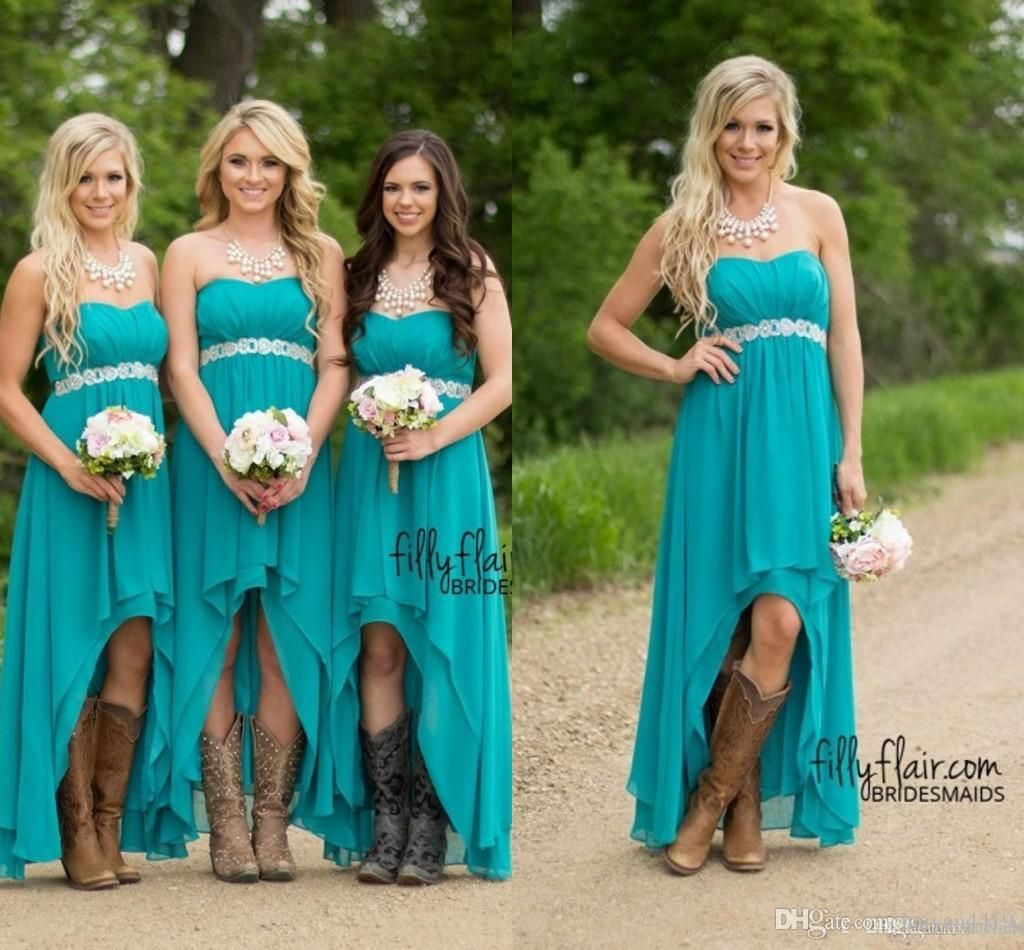 Cheap country bridesmaid dresses 2017 cheap teal turquoise chiffon cheap country bridesmaid dresses 2017 cheap teal turquoise chiffon sweetheart high low beaded with belt party wedding guest dress maid honor gowns as low as ombrellifo Images