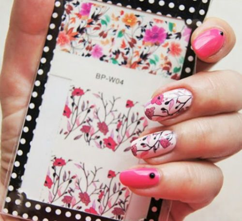 Nail Art Bunga: 2016 Musim Panas Bunga Nail Sticker LAHIR CUKUP Colorful