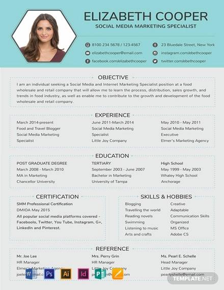Social Media Specialist Resume Cv Template Word Psd Indesign Apple Pages Illustrator Publisher Marketing Resume Media Specialist Resume Examples