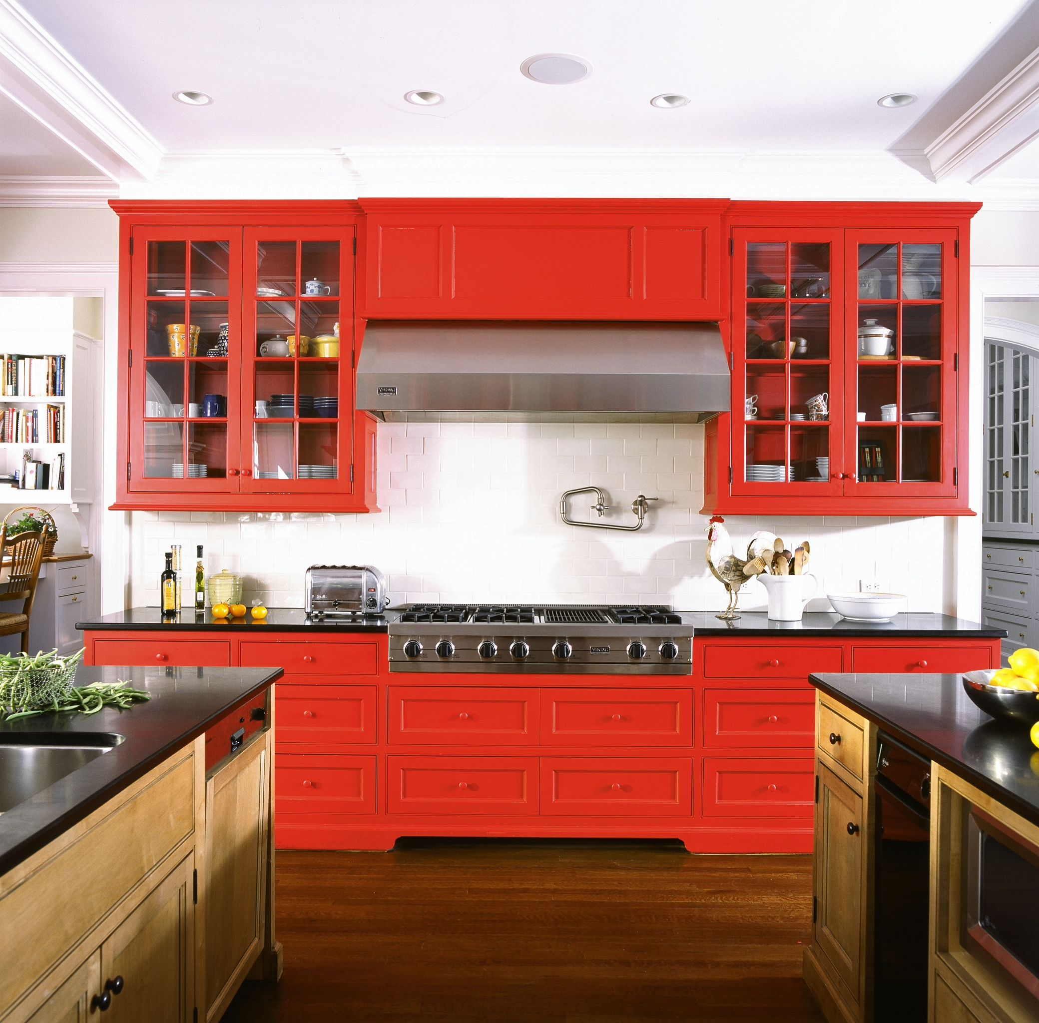 New Canaan Ct Brooks And Falotico Associates Fairfield County Architects Contemporary Kitchen Design Kitchen Design Red Cabinets