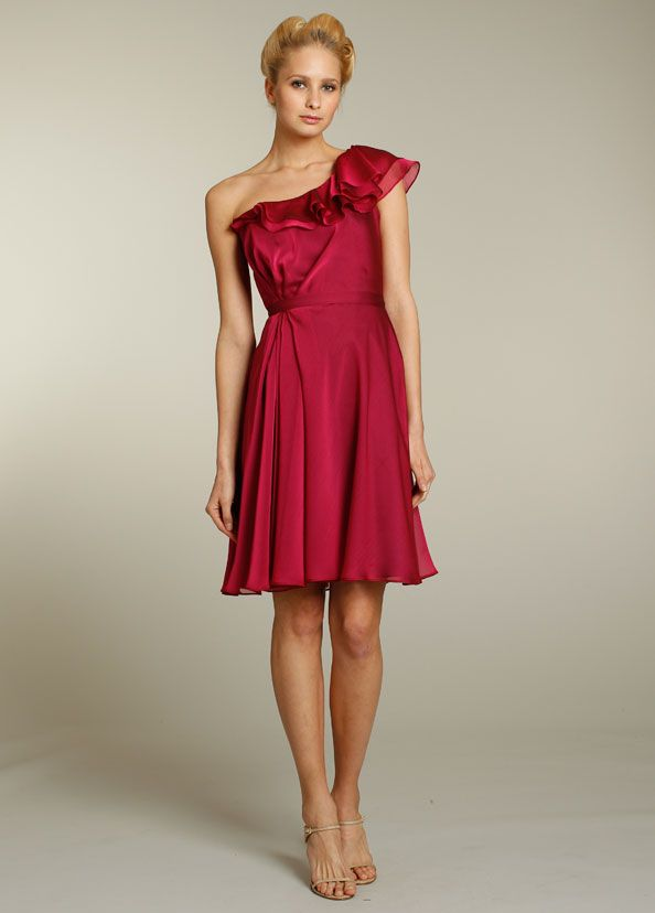 8a3b5c4724 Bridesmaids and Special Occasion Dresses by Alvina Maids - Style AV9182.... Ruby luminescent chiffon A-line tea length bridesmaid dress. One shoulder  ...