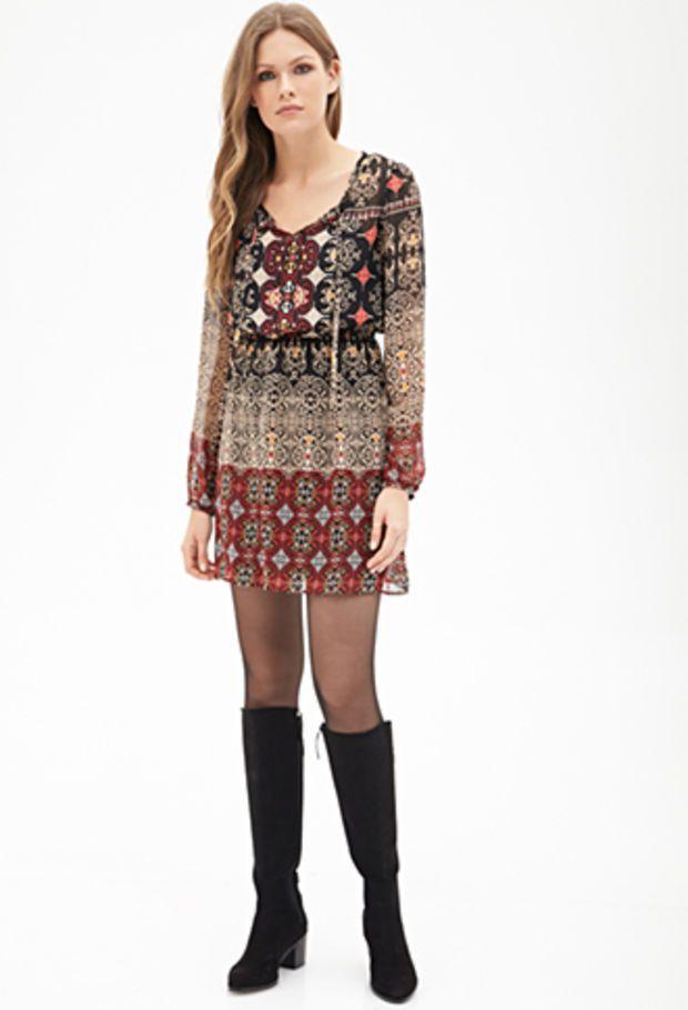 LOVE 21 Tribal Print Chiffon Dress Black/Tan