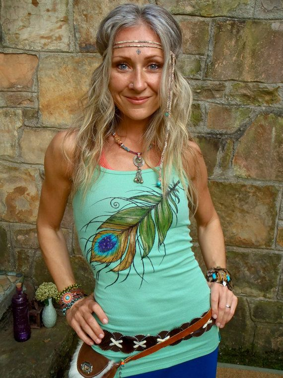 TANK sea foam PEACOCK FEATHER top tank top hand painted by GPyoga, $47.00